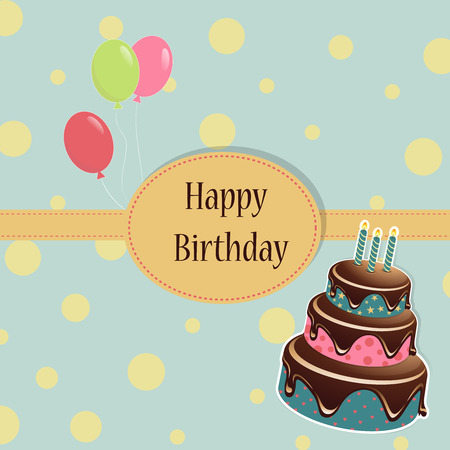 Birthday background with birthday cake and colored balloon on a spotted background