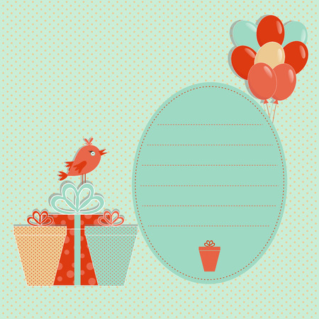 Template greeting card with bird, presents and balloon on a spotted  background, vector illustration
