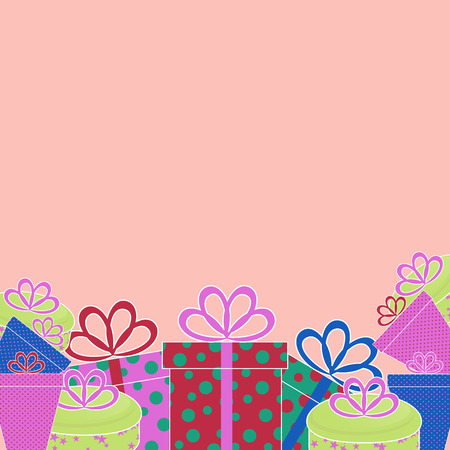 Greeting template with colored birthday presents on a pink background  for your greeting card, invite or other your design