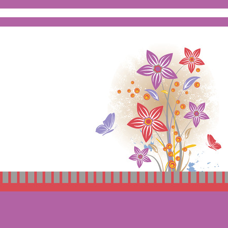 Colored floral background with grunge, five flowers, leaf and two butterflies isolated on white