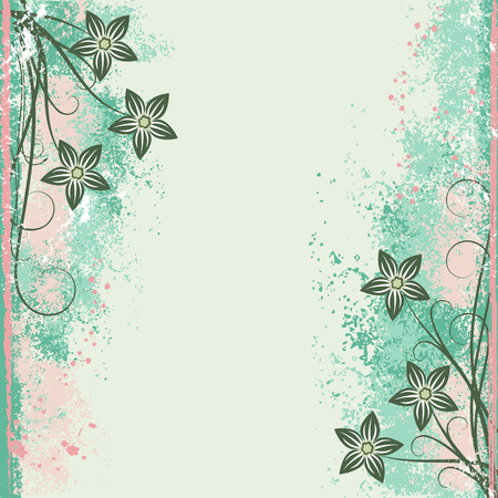 Grunge flower background with scroll for your design. EPS 10 a Layered.