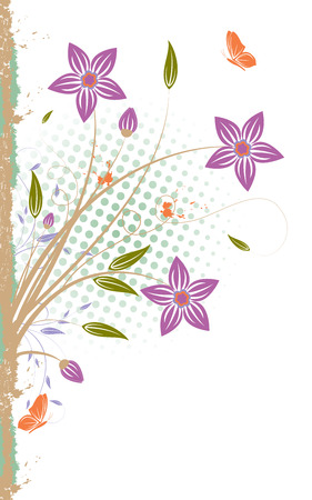 Grunge background with flower, scroll, leaf and butterfly isolated on white, vector illustration