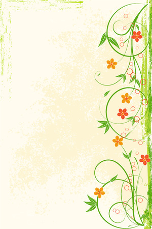 Background with a colored flowers, scroll and leaf on a grunge background for banner,invitations, greeting card or other your design. EPS 10 a Layered.