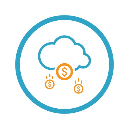 Make Money Icon. Business Concept. Cloud Mining. Flat Design. Isolated Illustration. Illustration