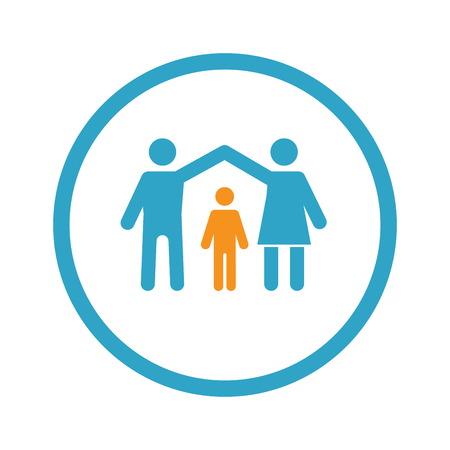 Family Insurance Icon. Flat Design.