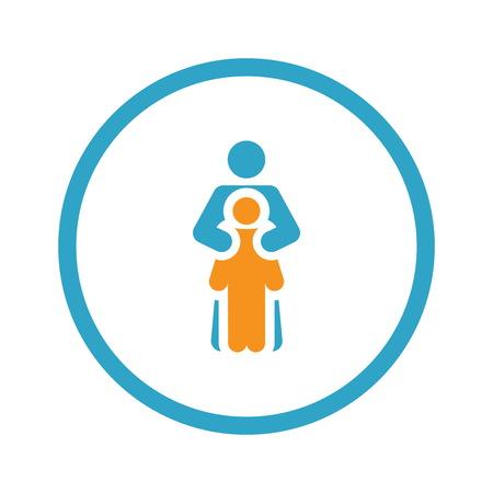 Child Life Protection Icon. Flat Design.