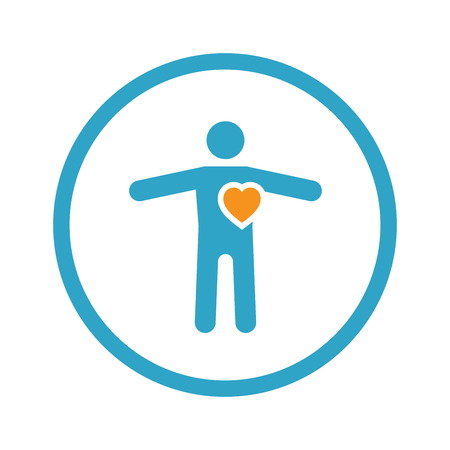 Heart Care and Medical Services Icon. Flat Design.