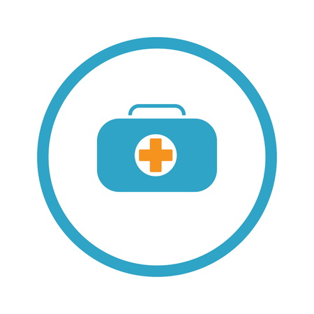 First Aid Kit Symbol and Medical Services Icon. Flat Design. Illustration