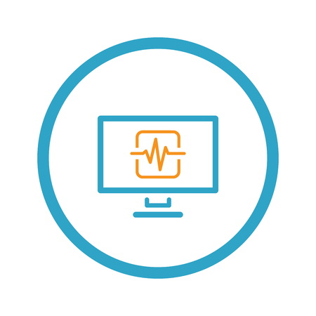 Cardiogram and Medical Services Icon. Flat Design. Illustration