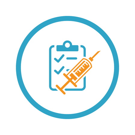 diabetes syringe: Vaccination and Medical Services Icon. Flat Design. Illustration