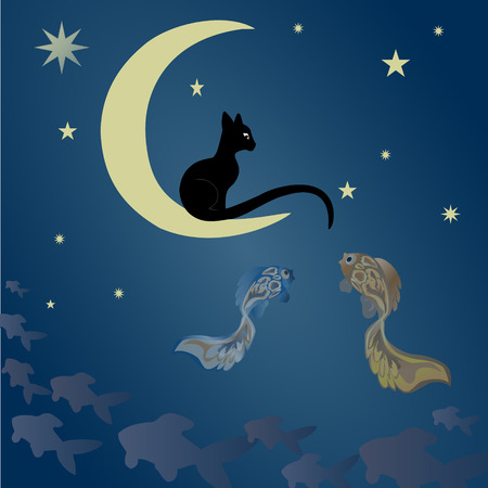wonderment: A black cat sits on the moon and catches fish among the starry sky. Illustration