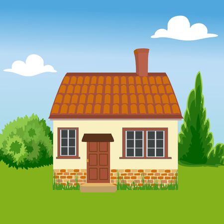 grouped: House is built of ecological materials. Family home on a background of nature. The concept of environmental protection. All objects are grouped. Vector.