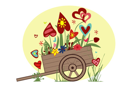 arrangement: Flower arrangement from blooming hearts in the cart symbolizing joy, love and happiness