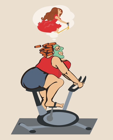 fatso: Fat girl engaged on a stationary bike and dreams of a figure. Illustration