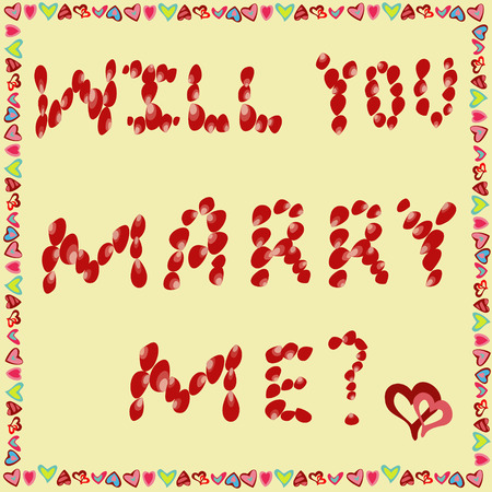 grouped: Text will You marry me? of rose petals on a yellow background, frame of hearts. All objects are grouped. Vector.