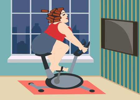 fatso: Full young girl is engaged on a stationary bike at home in front of the window, overlooking the evening city. Vector illustration.