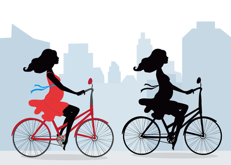 pregnancy exercise: Silhouettes of pregnant women on the bike . City background. Illustration in vector format. Horizontal.