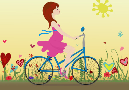 yellow sky: Pregnant girl rides a Bicycle on a blossoming field in the background of the yellow sky. Vector illustration. Horizontal. Illustration