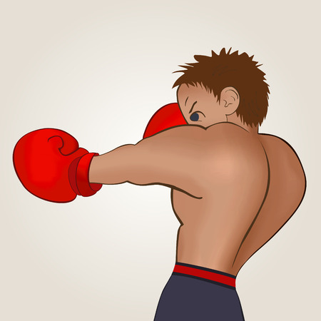 flier: Young boxer in blue shorts trains on a light background. Colored, isolated, vector illustration for emblem, label, badge, flier, leaflet or etc. Square location. Illustration