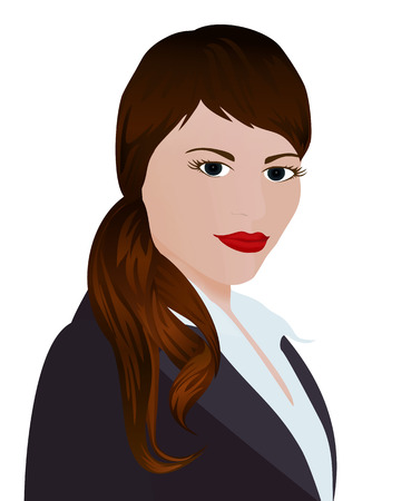 facilitator: Specialist in public relations. Portrait pr manager in a dark suit on white background. Isolated vector illustration. Vertical location.