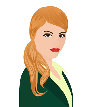 facilitator: The portrait of PR-manager. Specialist in public relations in green office suit on white background. Isolated vector illustration. Vertical location.
