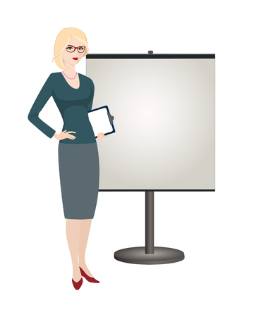Political strategist is standing next to the stand on white background. Specialist in public relations, stand attendant, coordinator, PR Manager and etc. Isolated vector illustration. Vertical location. Illustration