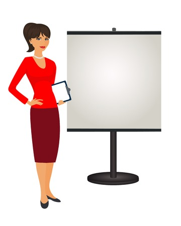 PR specialist is standing next to the stand. Isolated vector illustration political strategist on white background . Stand attendant, coordinator, PR Manager and etc. Vertical location.