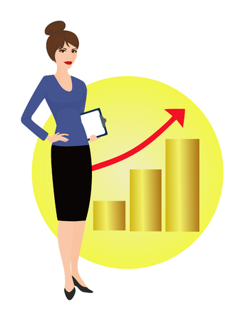 strategist: Specialist in public relations on the background of the rising graph. Political strategist, coordinator, PR Manager. Isolated vector illustration. Vertical location.