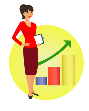 facilitator: Political strategist is standing on the background of the rising graph. Specialist in public relations, coordinator, PR Manager and etc. Isolated vector illustration. Vertical location. Illustration