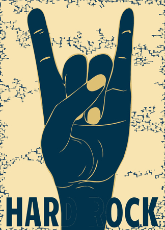 predilection: Rock-n-roll  hand gesture. Punk rock style template for slogan, poster, flyers ,   banner and etc. Vector illustration on yellow background. The vertical arrangement.