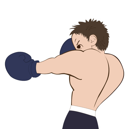 flier: Young boxer in  dark shorts trained on white background. Colored, isolated, vector illustration for emblem, label, badge, flier, leaflet or etc. Square location.