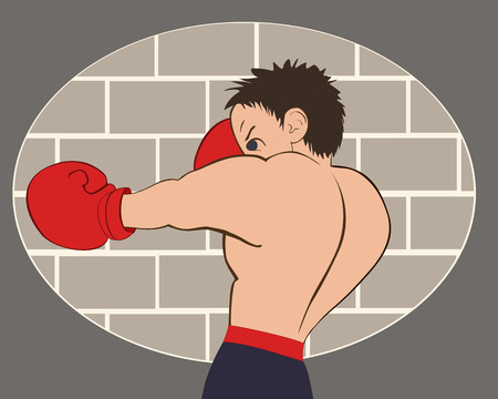 flier: Young boxer in blue shorts trained against a brick wall. Colored, isolated, vector illustration for emblem, label, badge, flier, leaflet or etc. Horizontal location.