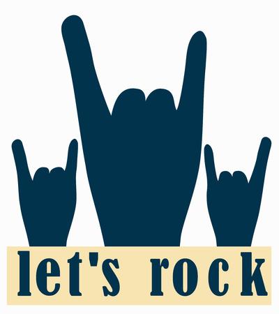 flier: Let`s rock. Stylish template  for slogan, poster,  flier or etc. Human hands on white background. Vector illustration of rocker gesture . Illustration