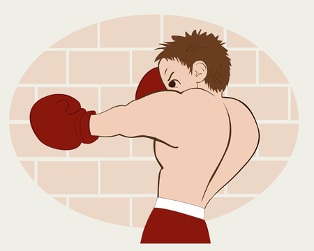 flier: Young boxer in  red shorts trained against a brick wall. Colored, isolated, vector illustration for emblem, label, badge, flier, leaflet or etc. Horizontal location.
