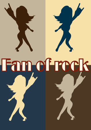 predilection: Silhouettes of fans rock. Stylish template for slogan, poster, flyer, etc. Isolated vector illustration.Vertical location.