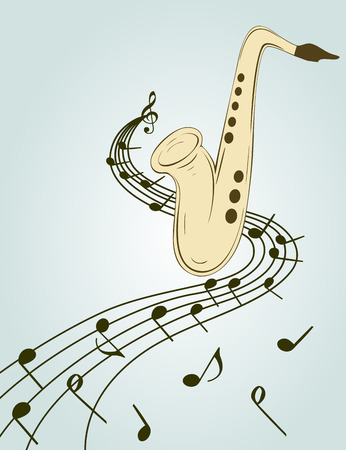 flier: Stylish illustration of saxophone  for slogan, poster,  flier or etc. Sax and musical notes  on the stave, can be used with any image or text.