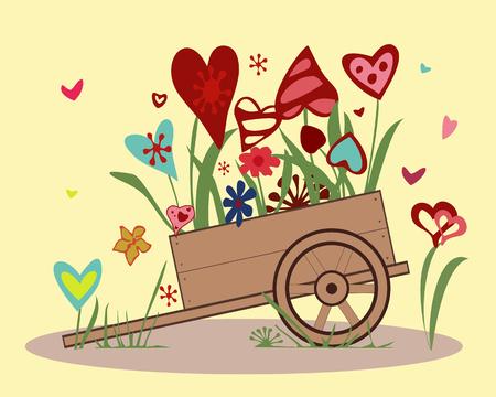 handcart: Flower arrangement from blooming hearts in the handcart.
