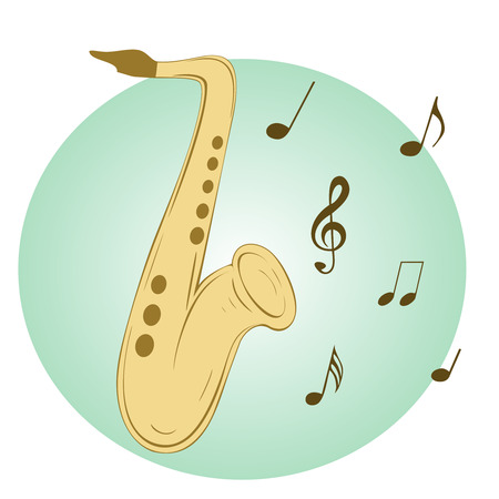 flier: Stylish illustration of saxophone  for slogan, poster,  flier or etc. Sax and musical notes  on blue background Illustration