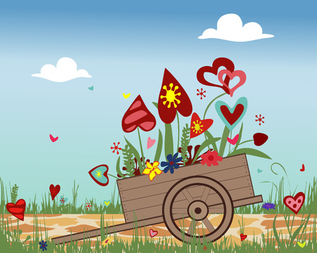 cobbled: Flower arrangement of colorful hearts in a hand cart. Illustration symbolizing joy, love and happiness. Ideal for greeting cards. Horizontal location.