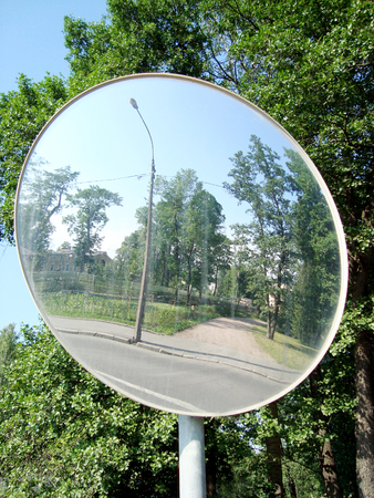 Review spherical mirror Stock Photo