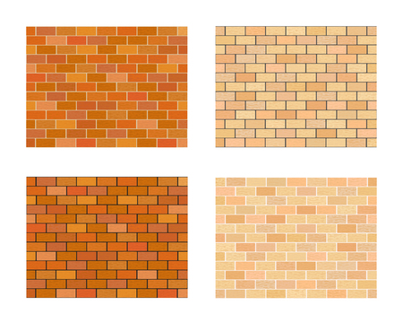 Collection of bricks different color on white  background.