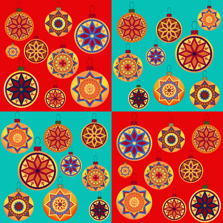 packing paper: Vintage retro design New Year toys. Seamless pattern with Christmas balls. Perfect for packing paper, wrapping bags, greeting card and other Christmassy decoration.