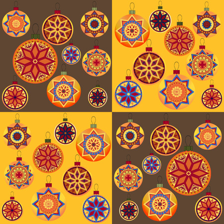 packing paper: Set of vintage retro design New Year toys. Seamless pattern with Christmas balls. Perfect for packing paper, wrapping bags, greeting card and other Christmas decoration.