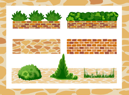 garden path: Set of elements for landscape design. Different options of masonry and garden plants.