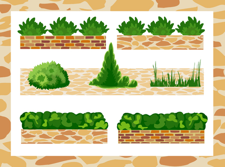 garden path: Set of elements for landscape design . Different options of masonry and garden plants. Illustration