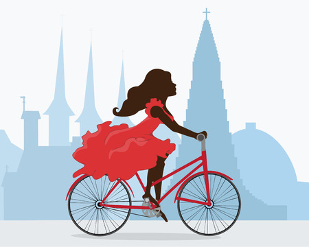 A woman rides a bike through the capital of Iceland. Behind the girl the silhouette of the Cathedral Hallgrimskirkja, Perlan and other attractions of Reykjavik. illustration. Horizontal. Illustration