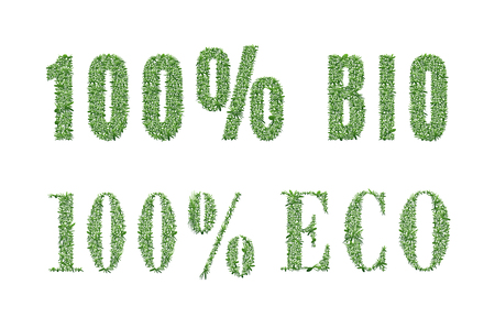 vegetarianism: Ecology design. The word 100% eco; bio is made of grass. Environmental concept for advertisement healthy food, ecological products, lifestyle, etc. illustration. Vertical location. Illustration