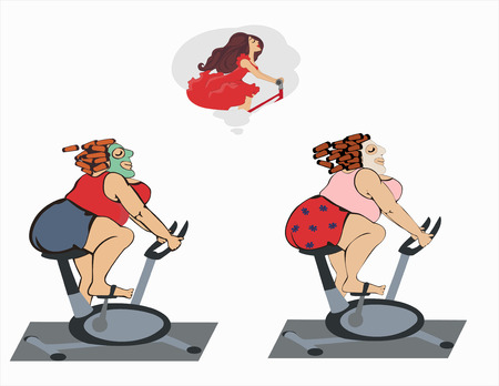 Fat girls are training on the bike. Chubby women  engaged on a stationary bicycle and dreams of a figure. illustration. Horizontal location. Illustration