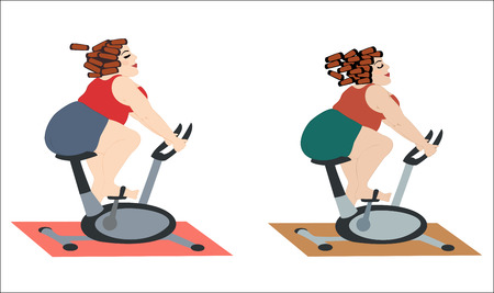 Fat girls are happy to train on the stationary bike. Chubby women in a good mood doing cycling exercise. illustration. Horizontal location. Illustration