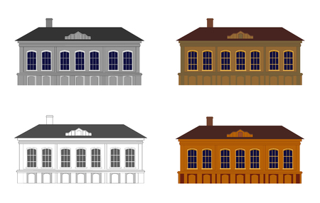 classicism: Set of houses in different colours on a white background. Building in style of classicism. Isolated. Vector illustration. Horizontal location. Illustration